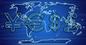 World currency exchange rates on world map — Stock Photo