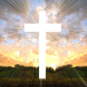 Cross with light shafts. Faith symbol. — Stock Photo