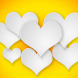 Abstract flying  white hearts on yellow background. — Stock Photo