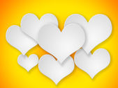 Abstract flying white hearts on yellow background. — Foto de Stock
