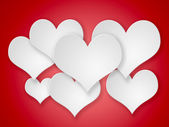 Abstract flying white hearts on red background. — Stock Photo