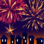 City at night. Fireworks on sky. Happy new year — Stock Photo
