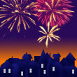 City at night. Fireworks on sky. Happy new year — Stock Photo