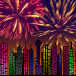 City at night. Fireworks on sky. Happy new year — Stock Photo #34963905