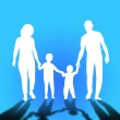 Family walking. Mom, dad and childrens — Stock Photo