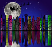 City at night. Santa on sky. Marry christmas — Stock Photo