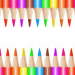 Colored pencils in a row, isolated on a white background — Stock Photo