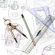 Tools and papers with sketches on the table.technical drawings — Stock Photo