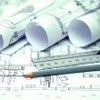 Heap of architectural design and project blueprints drawings of — Foto de Stock