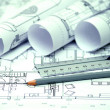 Heap of architectural design and project blueprints drawings of — Photo