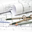Heap of architectural design and project blueprints drawings of — Stock Photo #36047947