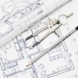 Heap of architectural design and project blueprints drawings of — ストック写真