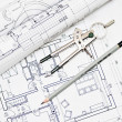 Heap of architectural design and project blueprints drawings of — Stock Photo