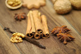 Closeup of walnut, star anise, vanilla and cinnamon — Stock Photo