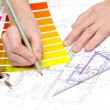 Tools and papers with sketches on the table. technical drawings. — Stock Photo