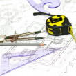 Stock Photo: Tools and papers with sketches on the table. technical drawings