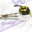 Tools and papers with sketches on the table. technical drawings — Stock Photo