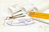 Heap of architectural design and project blueprints drawings of — Foto Stock