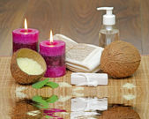 Set for spa with natural ingredients. body Massage — Stock Photo