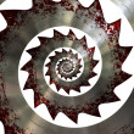 Bloody saw blade. Spiral pattern — Stock Photo #41159263
