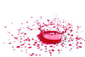 Glossy red liquid droplets (splatters) isolated on white — Stock Photo