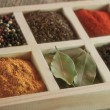 Spices in box: cummin, pepper, laurer, curry, paprika, chili — Stock Photo #43164723