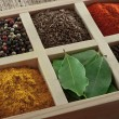 Spices in box: cummin, pepper, laurer, curry, paprika, chili — Stock Photo #43164727