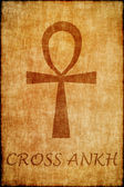 Cross ankh draw on old parchment. — Stock Photo