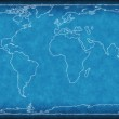 World map on blueprint. — Stock Photo