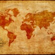 World map on old paper — Stock Photo