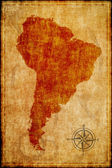 South america map on parchment — Stock Photo