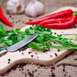 Red chili peppers and spices on cutting board. — Stock Photo