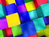 3d pozadí barevných kostek, barevná mozaika — Stockfoto