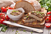 Traditional rye bread with pate. — Stock Photo