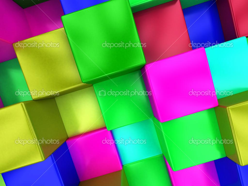 Fondo 3d cubos de colores colorido mosaico foto stock - Mosaicos de colores ...