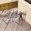 Two workers sticks nail. The concept of teamwork — Stock Photo #49290457