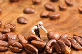 The little man made coffee selection. The concept of cooki — Stock Photo