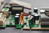 Engineer repairing circuit board. Computer repair concept. — Stock Photo