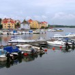 Colourful marina, Lillesand, Norway — Stock Photo