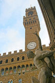 The Rapture of the Sabina statue in front of Palazzo Vecchio (Old Palace), which is the town hall Florence, Italy — Stock Photo