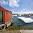 Stock Photo: Hut or Out house on jetty, near Bellingshausen station, Russibase, Antarctica