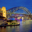Sydney Harbour Bridge after sunset, New South Wales, Australia — Stock Photo #37508487