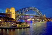 Sydney Harbour Bridge after sunset, New South Wales, Australia — Stock Photo