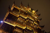 Traditional buildings lit up by night in the Old Town, Nanshi, Shanghai, China — Stock Photo