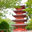 View of the five storied Pagoda in the Saisho-in temple in Hirosaki, Japan. — Stock Photo