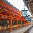 Bronze lanterns hanging in the grounds of Kasuga-Taisha Shrine, Nara, Japan. — Stock Photo