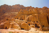 Street of facades, in the Rose Red City of Petra, Jordan. — Stock Photo