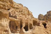 Dwellings carved into the rocks, Petra, Jordan. — Stock Photo