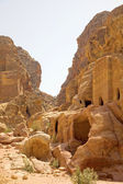 Facades carved into the rock face, Petra, Jordan. — Stock Photo