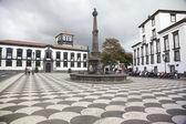 Vista de la plaza municipal (praca recepción) con el ayuntamiento, funchal, madeira, portugal. — Foto de Stock